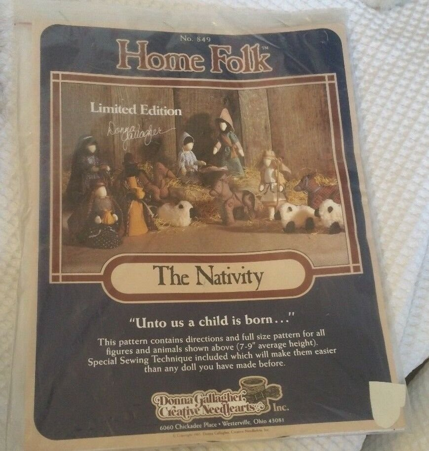 The Nativity by Home Folk patterns for hand sewn fabric stuffed Nativity scene