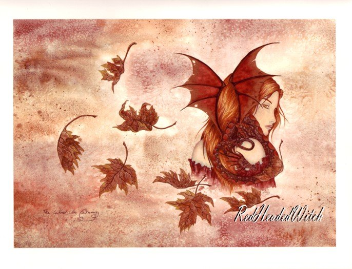 AMY BROWN Print WIND IN AUTUMN FAIRY FAERY RETIRED