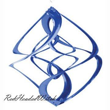 BLUE DOUBLE WIND SPINNER chime twirler spinners GARDEN
