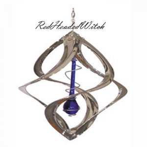 CHROME Silver WIND SPINNER Blue Drop Chime Spinners