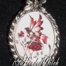 AMY BROWN ROSE RED Faery FAIRY CAMEO PENDANT Necklace