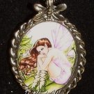 New SWEET PEA FAIRY CAMEO PENDANT Necklace FAERY