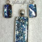 SILVER BLUE DICHROIC Glass 3 pc SET EARRINGS PENDANT