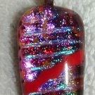 New DICHROIC GLASS PENDANT Red Blue FUSED GLASS Artsy