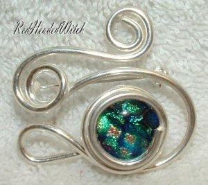 SWIRL PIN Pendant STERLING SILVER Green Peach Blue New
