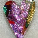 New SPRING Colors DICHROIC GLASS HEART PIN FUSED GLASS
