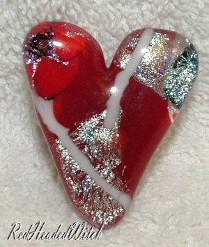 New DICHROIC GLASS HEART PIN RED & SILVER FUSED GLASS