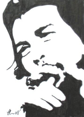 "c04 Communist leader Cheguevara ACEO Original Drawing 2.5 x3.5"" Free Shipping"
