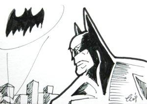 "c11 ACEO Batman n Bat logo Pop Art Original Drawing 2.5 x3.5"" Free Shipping"