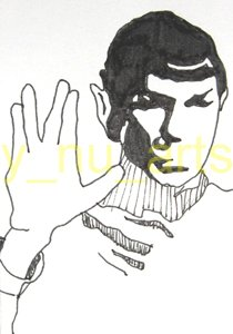"c01 ACEO Star Trek's Spock Original Drawing 2.5 x3.5"" Free Shipping"