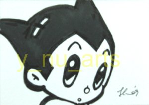 "c15 ACEO Astro Boy Pop Art Original Drawing 2.5 x3.5"" Free Shipping"