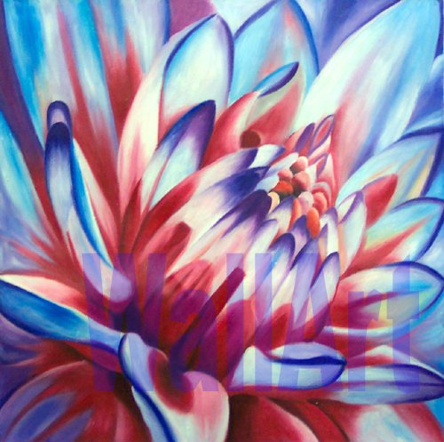 "019    Flowers Pop Art Modern Painting purple clr 20""20"