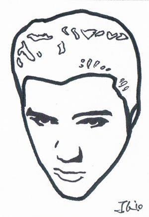 c39 aceo original pop art hand drawing elvis presley