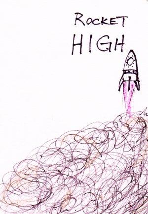 c32 Aceo Original Graffiti pop art Hand Drawing Rocket High