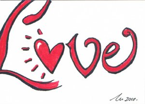 c57 Love word Aceo Original pop art Hand Drawing