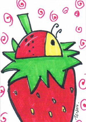 c60 Beatle on Strawberry ACEO Original pop art Hand Drawing