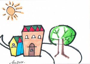 c61 Home Sweet Home ACEO Original pop art Hand Drawing
