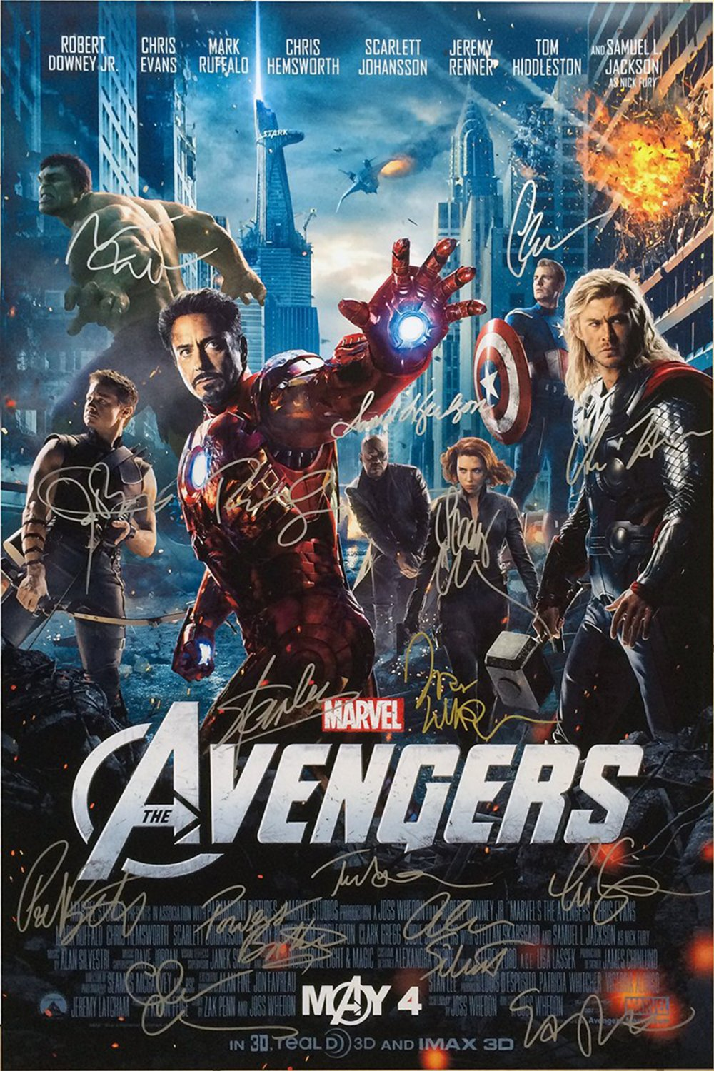 Signed AVENGERS Movie Poster by 16 members of the Cast