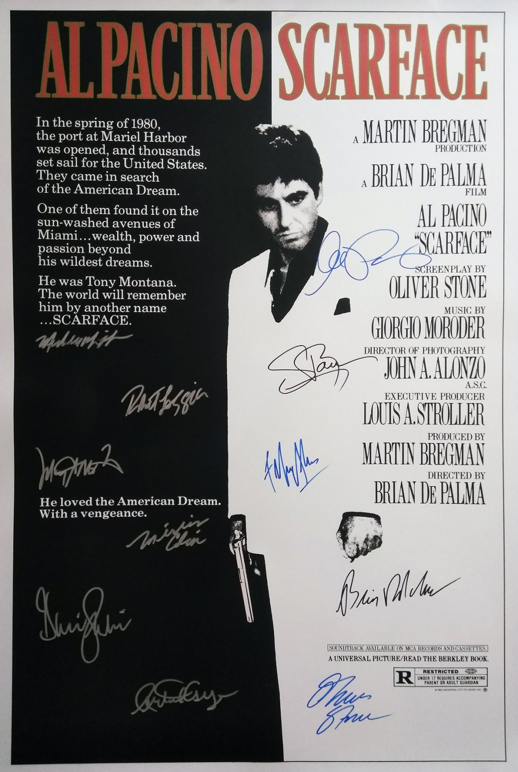Signed SCARFACE Movie Poster by 11 members of the Cast
