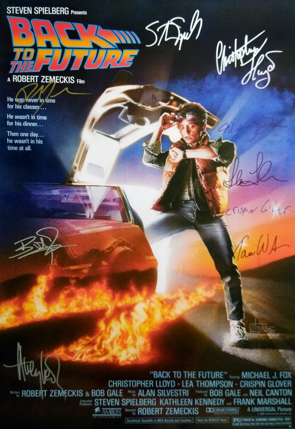 Signed BACK TO THE FUTURE Movie Poster by 9 members of the Cast