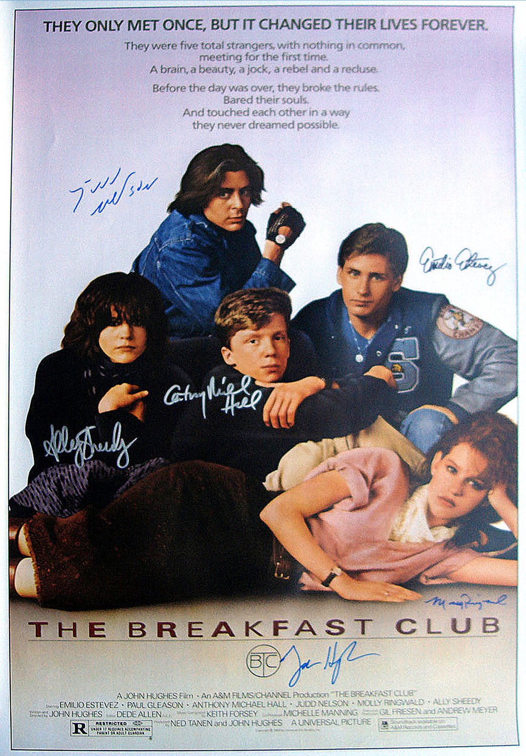 Signed THE BREAKFAST CLUB Movie Poster by 6 members of the Cast