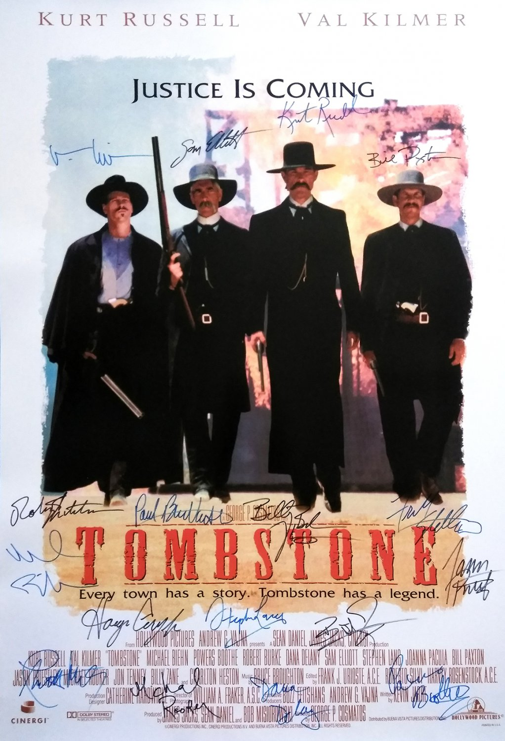 Signed TOMBSTONE White Movie Poster by 17 members of the Cast