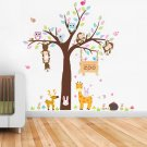 Monkeys and Giraffe Wall Decals with kid's name Boys and Girls Bedroom WallStickers