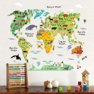 Animal world map Wall Decoration Wall Decals Girls boys Bedroom