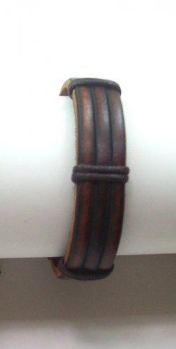 B005 Vintage Brown Horse Shoe Bondage Leather Bracelet