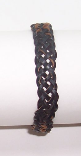 B003 Black Leather Bracelet Adjustable Surfer Wristband