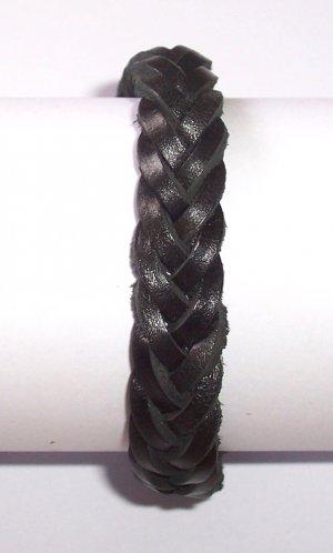 Black Braid Leather Bracelet Weave Wristband Sufer B026