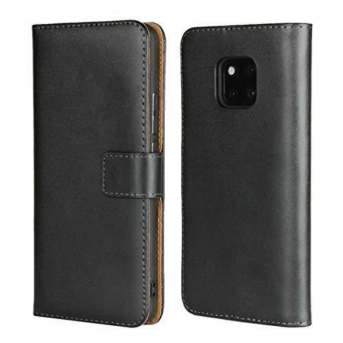 Huawei Mate 20 Pro Case Genuine Leather Folio Flip Wallet Case Cover Black