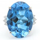 25.25 Carats Natural Swiss Blue Topaz & Diamond 14K Solid White Gold Ring