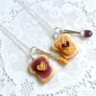 Peanut Butter Jelly Heart Necklace Set, Best Friend's BFF Necklace, Food Jewelry, Cute :D