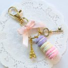 Pastel Macaron Trio Eiffel Tower Keychain, Purse or Bag Charm, Cute And Kawaii :D