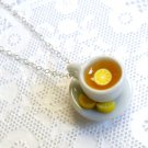 Lemon Tea Cup and Saucer with Lemon Slices Necklace, Miniature Food Jewelry, Cute!