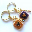 Peanut Butter and Jelly Heart Keychain Set, Gold Tone, With Best Friend Charm, BFF