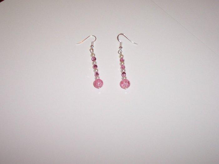 Pink crackle beaded drop earrings