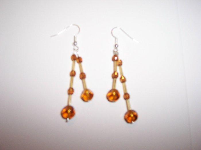 Amber effect twin drop earrings