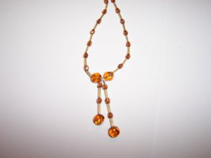 Amber effect twin drop necklace