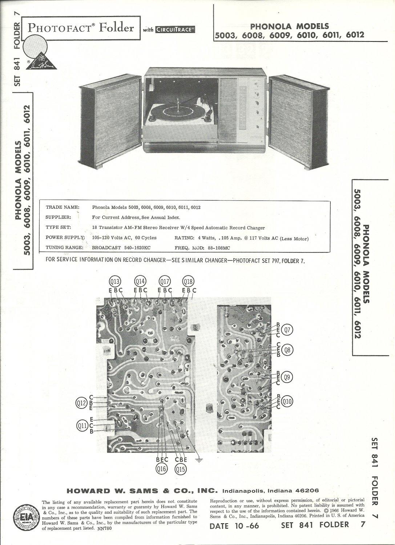 SAMS Photofact - Set 841 - Folder 7 - Oct 1966 - PHONOLA MODELS 5003, 6008, 6009
