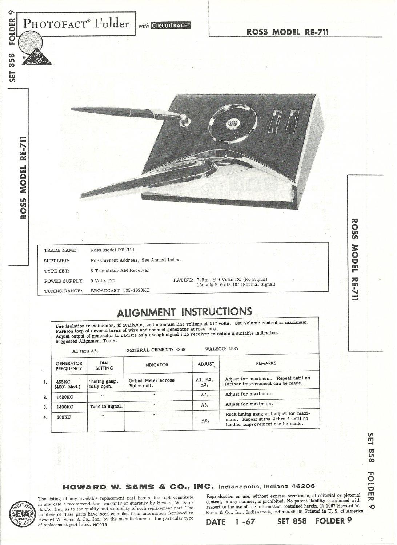 SAMS Photofact - Set 858 - Folder 9 - Jan 1967 - ROSS MODEL RE-711