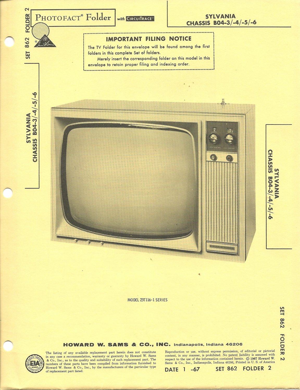 SAMS Photofact - Set 862 - Folder 2 - Jan 1967 - SYLVANIA CHASSIS 804-3/-4/-5/-6
