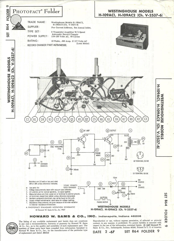 SAMS Photofact - Set 864 - Folder 9 - Feb 1967 - WESTINGHOUSE MODELS H-109AC1