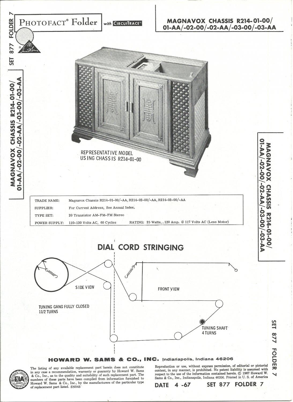 SAMS Photofact - Set 877 - Folder 7 - Apr 1967 - MAGNAVOX CHASSIS R214-01-00