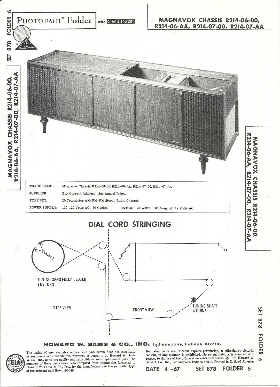 SAMS Photofact - Set 878 - Folder 6 - Apr 1967 - MAGNAVOX CHASSIS R214-06-00