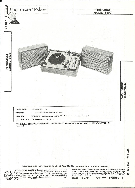 SAMS Photofact - Set 878 - Folder 8 - Apr 1967 - PENNCREST MODEL 6492