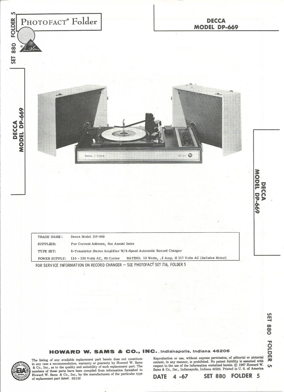 SAMS Photofact - Set 880 - Folder 5 - Apr 1967 - DECCA MODEL DP-669