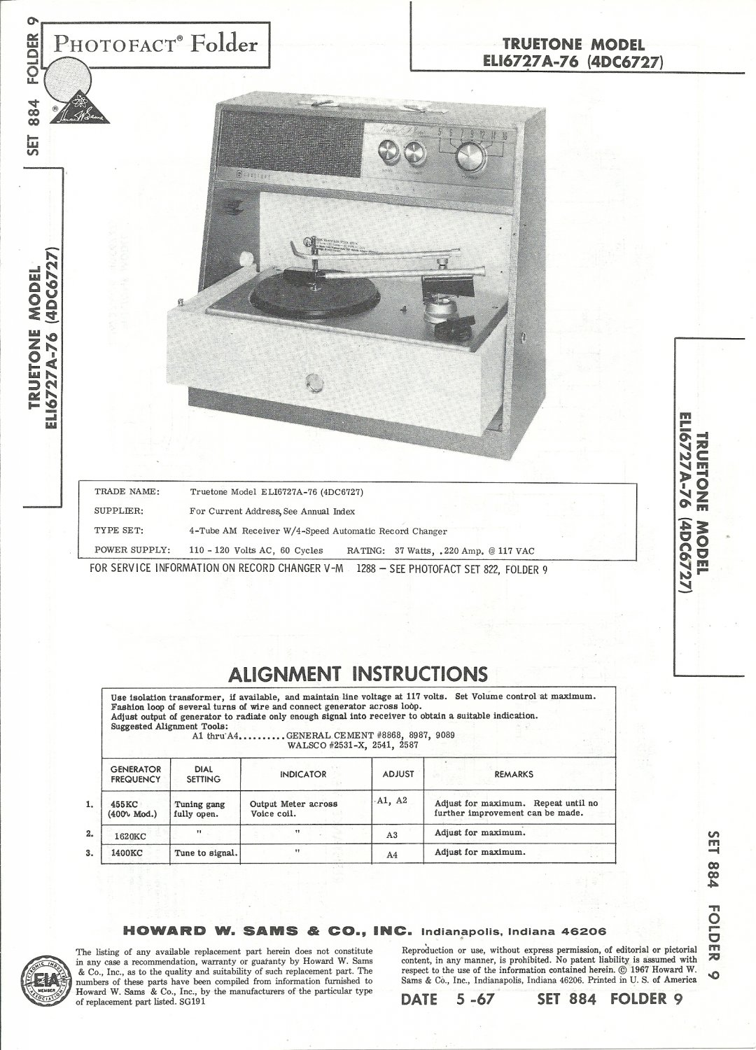 SAMS Photofact - Set 884 - Folder 9 - May 1967 - TRUETONE MODEL ELI6727A-76 (4DC6727)
