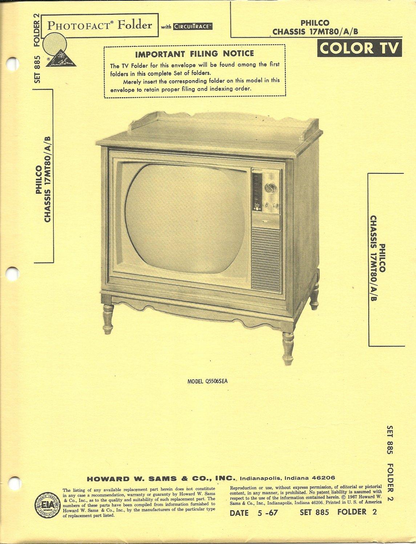 SAMS Photofact - Set 885 - Folder 2 - May 1967 - PHILCO CHASSIS 17MT80/A/B